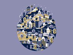Snowy Mountain Town - Matt Carlson on #dribbble #illustration