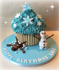 Frozen themed giant cupcake.....