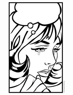 Crying Lady Pop Art colouring page