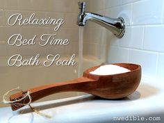 DIY Relaxing Bed Time Bath Soak. Designed to help you get to sleep - with liquid melatonin, lavender and chamomile.