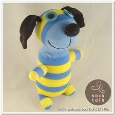 Handmade Yellow Striped Blue Sock Monkey Dog Stuffed Animals Doll Baby Toy | eBay