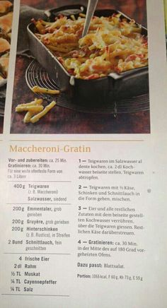 Maccheroni-Gratin - Betty Bossi (Quelle: Facebook) Pasta, Facebook, Drink, Gratin, Ham, Casseroles, Cooking Recipes, Kochen, Noodles