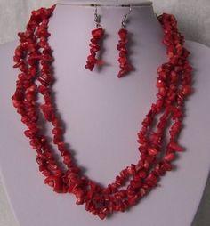 Red Triple Strand Turquoise Semiprecious Semi Precious Western Necklace Set