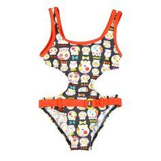 Trikini con estampado de simpáticas calaveras, de Bóboli. Tendencias 2014 en bañadores infantiles.