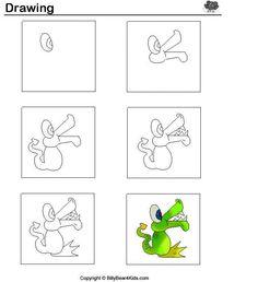Krokodil tekenen met kleuters / desenhando+animais