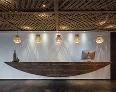 X+living adds bamboo weaved ceilings to ripple hotel in qiandao lake, china