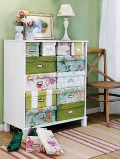 empty dresser w/ cardboard boxes? or shoe boxes .... and just cover them with something? ... hmmmm