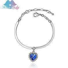 Miss Lady Silver color Austrian Crystal Cute Lovely Heart Of Ocean Bracelets & Bangles Fashion Jewelry for women MLY4379
