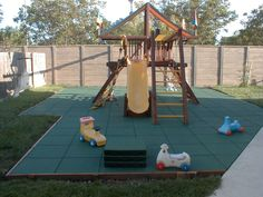 playground surfacing, including, tiles, poured-in-place, rubber mulch, and engineered wood fiber.