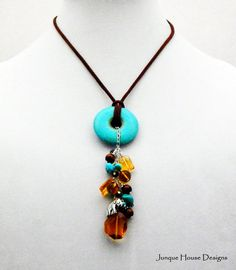 Turquoise and Citrine Fall Necklace by JunqueHouseDesigns on Etsy, $52.00