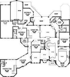 Luxury Style House Plans - 12268 Square Foot Home , 3 Story, 5 Bedroom and 6 Bath, 5 Garage Stalls by Monster House Plans - Plan 63-178