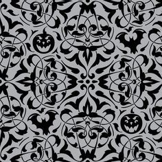 Gothique Halloween Damask Grey fabric by heatherdutton on Spoonflower - custom fabric