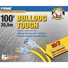 Prime LT511935 100' 10/3 Sjtow Yellow Bulldog Tough Extension Cord (Power cables)