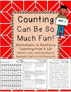 This product is great to use as math homework, math center work, morning work, or classwork.  You get 31 sheets to reinforce counting from 0-120.  It includes differentiated sheets for you kiddos who are different math levels.  And...to make each sheet easier for you to find and use, every sheet is labeled on the top right corner!Included in this packet are sheets for each of the following:Number Lines:0-30 (Forms 1-3)30-60 (Forms 1-3)60-90 (Forms 1-3)70-100 (Forms 1-3)90-120 (Forms…