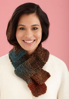One Ball Mitered Stripe Scarf uses one skein of Lion Brand® Tweed Stripes