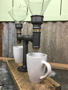 Blakeney : Black Iron and Brass Steampunk Double Coffee Maker / Dripper, complete with 12cm funnels
