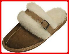 Extra dicke Lammfell Pantoffeln für Damen mit Schnallen Verzierung , Farben:beige, Schuhgröße:41