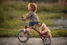 Murray, Adrian C - Boy & Teddy Bear on Tricycle So Cute Baby, Baby Kind, Baby Love, Cute Babies, Precious Children, Beautiful Children, Little People, Little Boys, Baby Pictures