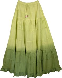 Military Ombre Green Frills Long Skirt