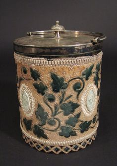 Doulton Lambeth stoneware cylindrical biscuit barrel