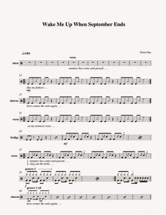 Green Day drum notes Wake Me Up When September Ends Drum Sheet Music, Drums Sheet, Music Sheets, Drum Notes, Learn Drums, When September Ends, Piano Songs, Drummers, Green Day