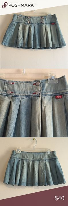 Miss Sixty very mini pleated Jean skirt Barely worn Miss Sixty pleated denim mini skirt Miss Sixty Skirts Mini