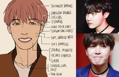 How to draw the characteristic features of Jung Ho-seok (정호석) also known mononymously as J-Hope (제이홉) of BTS (방탄소년단) in fanart. Jung Hoseok, J Hope Smile, 3 4 Face, Bts Drawings, Bts Fans, Tan Skin, Kpop Fanart, Drawing Tips, Drawing Tutorials
