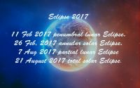 Contain the energy of an Eclipse of Rahu. This planet gives them energy negative. It is a shadow planet , pests.In 2017 Eclipse. Try this time to do nothing, not start new cases.11 Feb 2017 penumbral lunar Eclipse.26 Feb 2017 annular solar Eclipse.7 Aug 2017 partial lunar Eclipse21 Aug 2017 ...