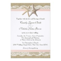 Starfish Blush Country Lace and Burlap Wedding X Invitation Card Burlap Wedding Invitations, Starfish, Invitation Cards, Our Wedding, Groom, Blush, Romantic, Thoughts, Bride