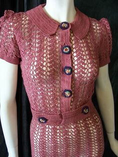 1930s rose crochet dress with knotted flower buttons