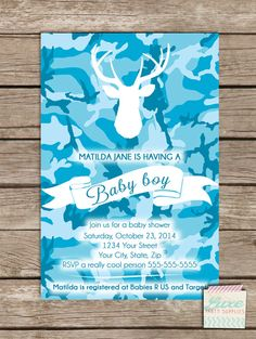 Coupon Code - REPIN10 for 10% off White Deer Baby Boy Shower Custom Invitation Printable JPG PDF digital invite file Boys party supplies Baby Blue Camo White faux Stag $10.99