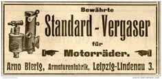 Original-Werbung/ Anzeige 1912 - STANDARD VERGASER FÜR MOTORRÄDER / BIERIG LEIPZIG - LINDENAU - ca. 100 x 50 mm