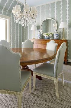 Style Profile: Amy Berry - The Glam Pad Dining Room Walls, Dining Room Design, Dining Room Furniture, Dining Chairs, Room Chairs, Space Furniture, Office Chairs, Striped Wallpaper Dining Room, Stripe Wallpaper