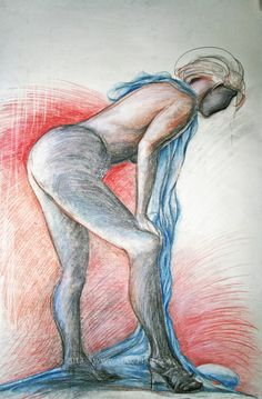 Dame mit blauem Tuch Dame, Paper, Graphics, Pictures, Figurine, Drawing S