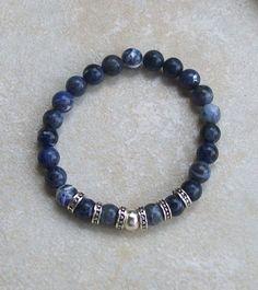 Mens beaded bracelet handmade blue sodalite silver plated
