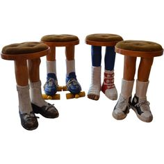 """SET OF FOUR AMAZING """"POP"""" STOOLS HANDCRAFTED IN WOOD.This item may be purchased on ecofirstart.com"""