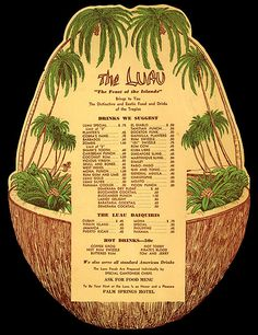 This vintage drink menu from The Palm Springs Hotel is something I could seriously LIVE in. I love this style (and want to try several of those tiki punches...) #tikifood #menus #hotels