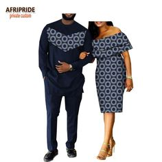 2018 spring casual couple suit AFRIPRIDE men's full length long shirt+pants and butterfly sleeve knee-length women dress Couples African Outfits, Couple Outfits, African Attire, African Wear, African Dress, African Style, African Fashion Designers, African Men Fashion, Africa Fashion