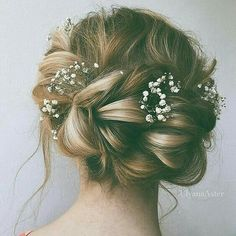 Braided bun with baby's breath