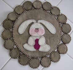 Easter Bunny Wool Penny Rug   Sale by QuiltgirlsCreations on Etsy, $20.00