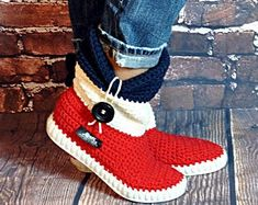Items similar to Crochet Boots Crochet Knitted Shoes adult Outdoor Boots for the Street Folk Tribal Boho s hippie Made to Order pattern crochet cuffs on Etsy Crochet Slipper Boots, Knit Shoes, Crochet Slippers, Hand Crochet, Crochet Bebe, Boho, Diy Clothes, Christmas Stockings, Baby Shoes