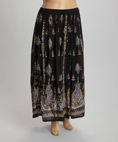 Another great find on #zulily! Black Arabesque Maxi Skirt - Plus by Lebaz #zulilyfinds