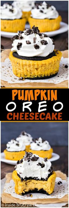 Pumpkin Oreo Cheesecake - creamy pumpkin cheesecake sandwiched between an Oreo cookie. This is the best fall dessert recipe!