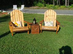 Cozy little spot so guest can have a nice chat is inviting.  Chairs and chest were made from pallets.