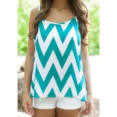 Wholesale Stylish Scoop Neck Sleeveless Zig Zag Racerback Women's Tank Top Only $2.74 Drop Shipping | TrendsGal.com