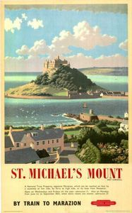 Marazion - another amazing place and love this vintage railway poster too Carlson Prado Stuff UK Posters Uk, Train Posters, Railway Posters, Retro Posters, St Michael's Mount, British Travel, Mont Saint Michel, By Train, Vintage Travel Posters