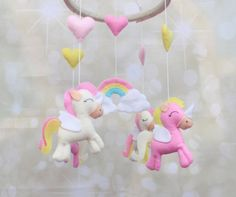 Felt unicorn crib/cot mobile  Baby mobile by MiracleInspiration