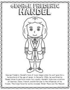 george frederic handel famous classical music composer informational text coloring page use this activity