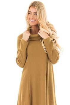 Caramel Ribbed Turtle Neck Dress front full body