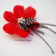 Wedding Headpiece, Bridal Hair Accessory - GENEVA  - Red Feather Flower Hairclip/Fascinator with Black and White Feather Accents